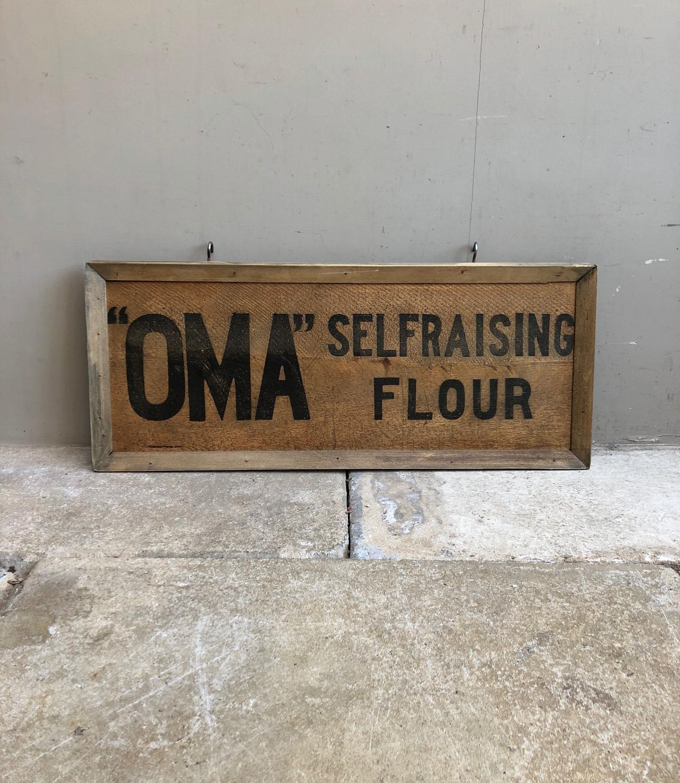 Early 20thC Framed Advertising Pine Box Lid - Oma Self Raising Flour