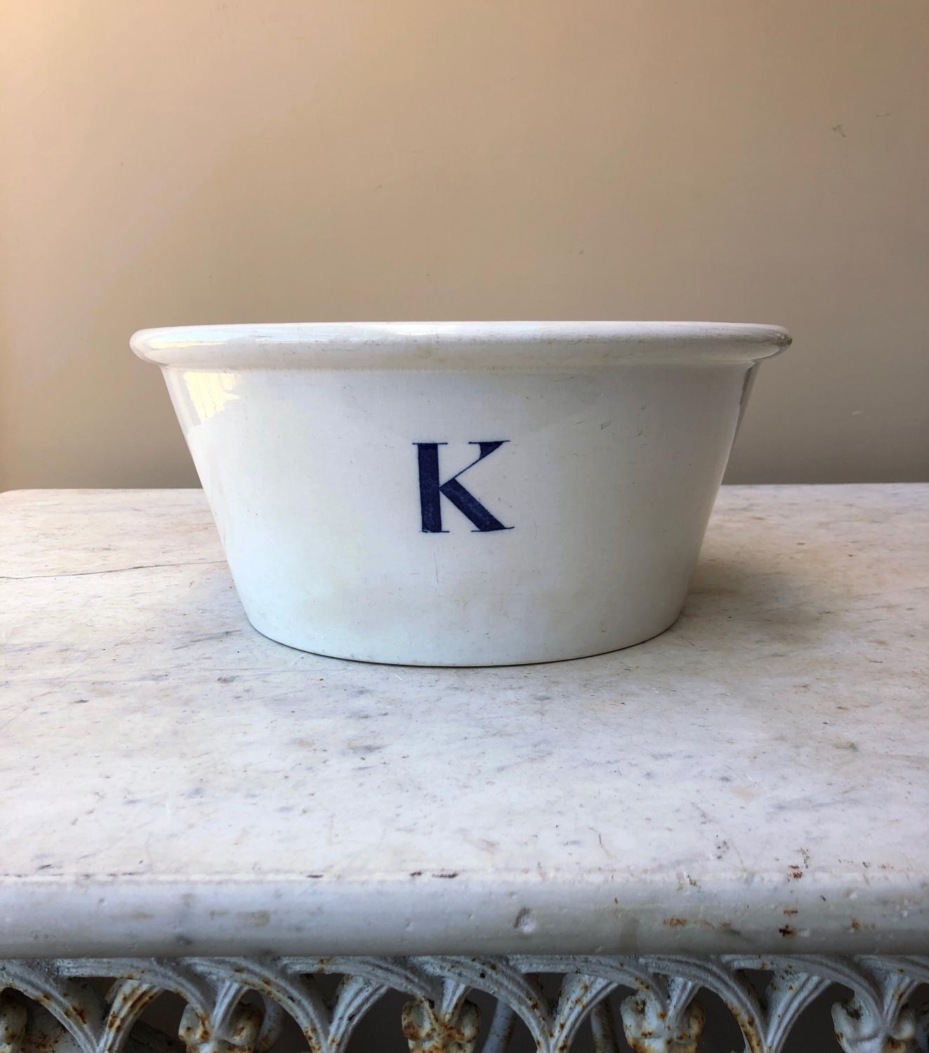 Edwardian K for Kitchen Bowl - Dated 1903