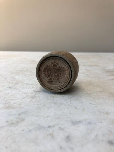 Rare Late Victorian Treen Butter Stamp - Crown