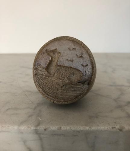 Very rare Victorian Treen Butter Stamp - Greyhound Dog