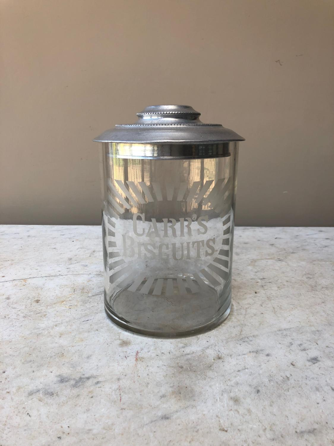 Early 20thC Shops Glass Advertising Jar - Carrs Biscuits