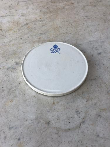 1930s White Ironstone Teapot Stand - King George VI