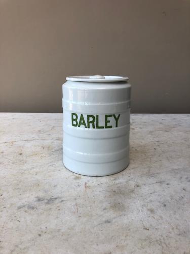 Early 20thC Grimwades White Banded Kitchen Storage Jar - Barley