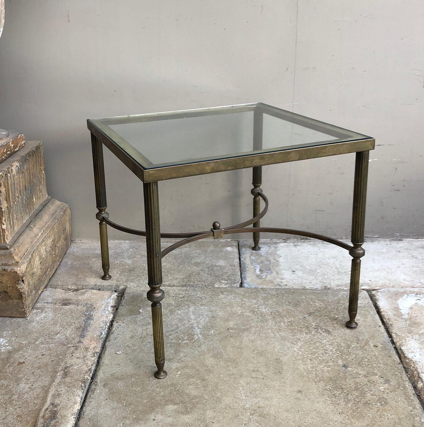 Mid Century Brass Glass Top Side Occasional Table