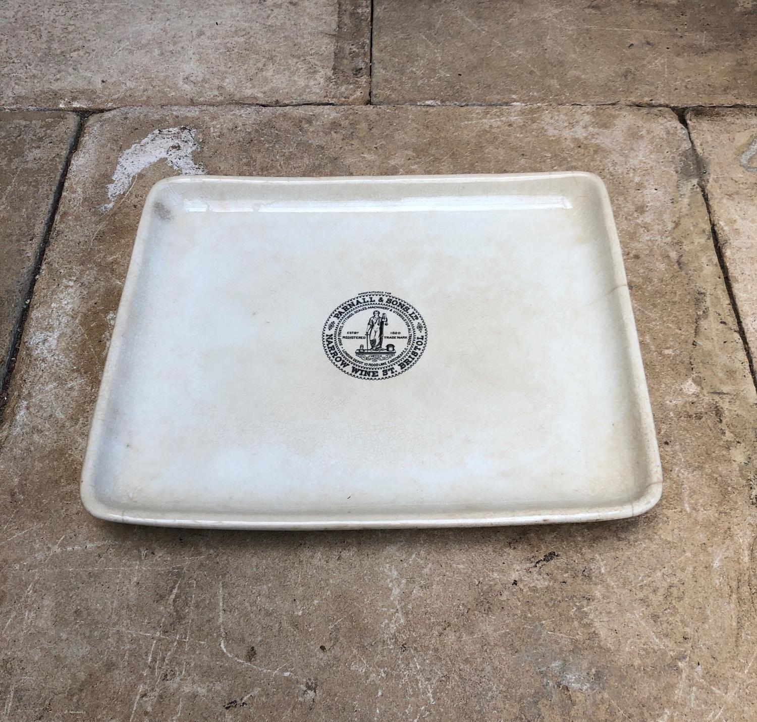 Large Edwardian White Ironstone Grocers Display Plate - Parnall Stamp