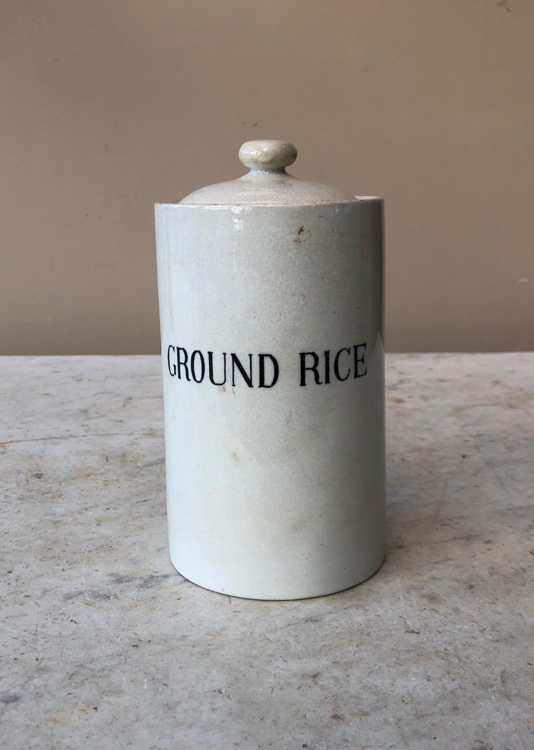 Rare Shape Edwardian White Ironstone Ground Rice Jar
