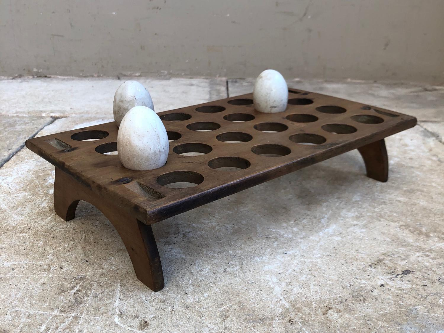 Large Late Victorian Treen Stacking Egg Rack - 2 Dozen Eggs