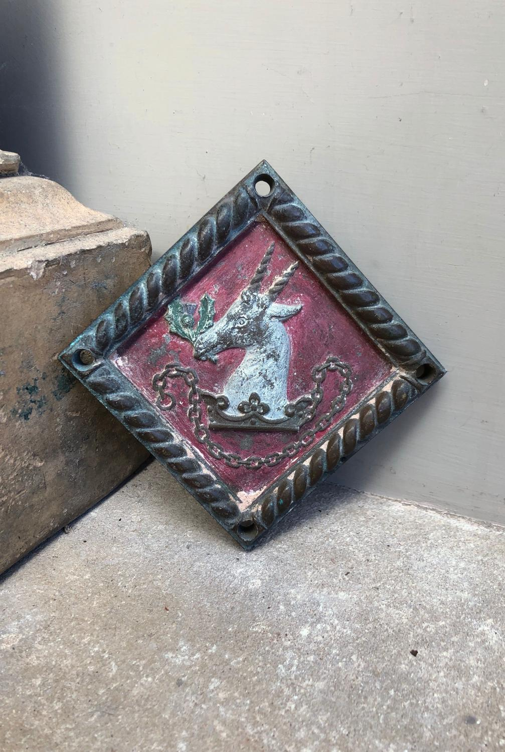 Victorian Cast Bronze Armorial Crest in Wonderful Original Paint