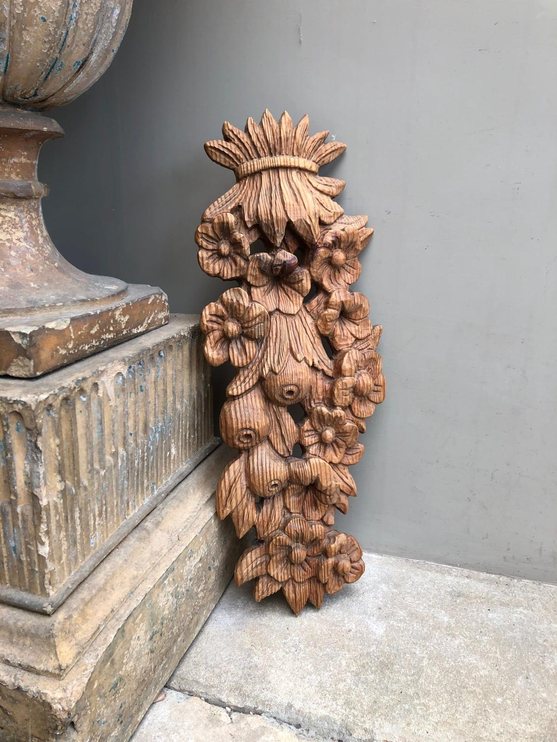 Mid Century Carved Pine Wall Hanging - Fruit & Flowers