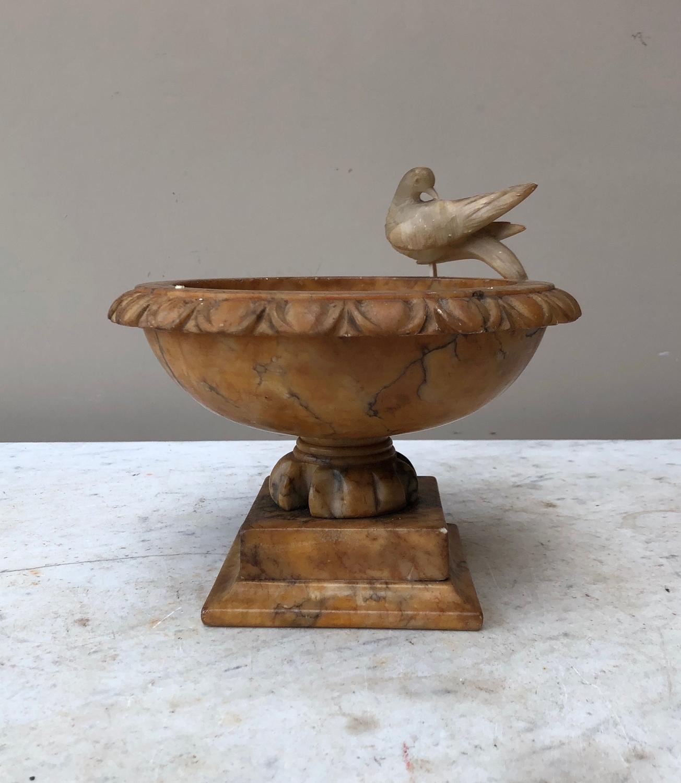 Victorian Carved Alabaster Urn with Four Birds