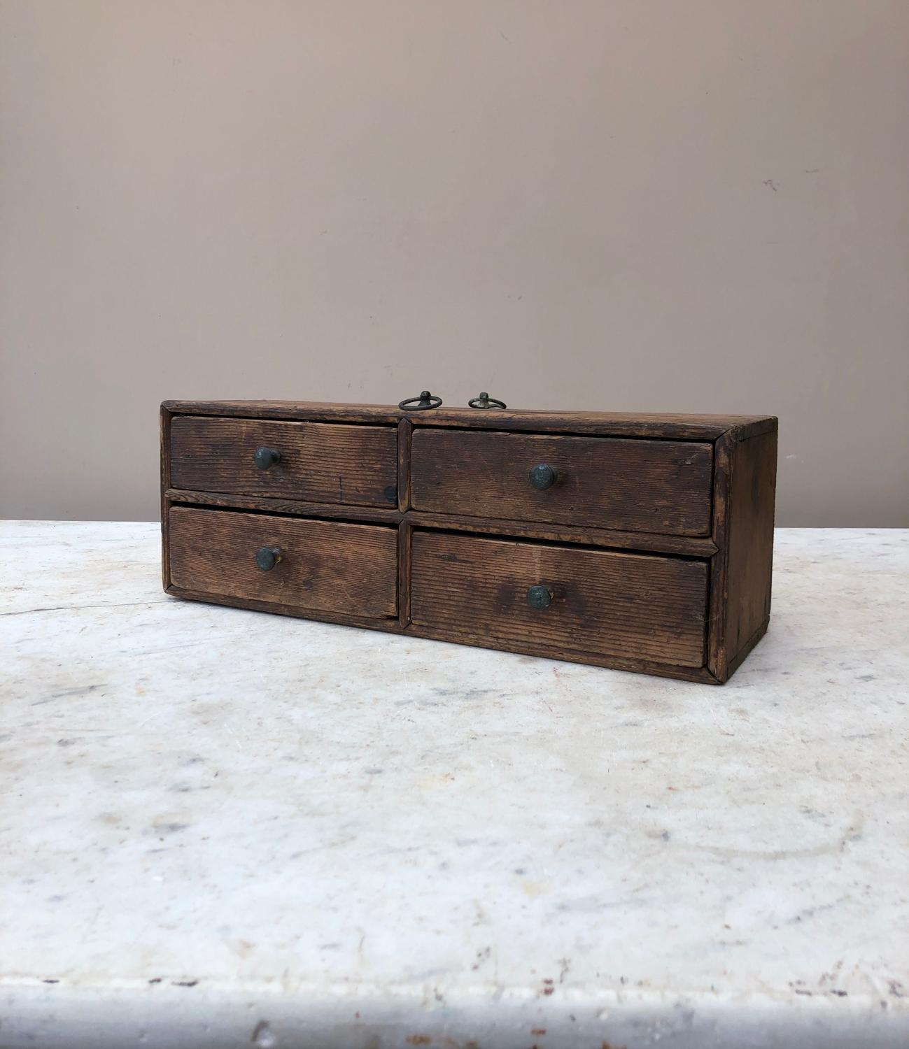 Small Victorian Pine Bank of Four Watchmakers Drawers