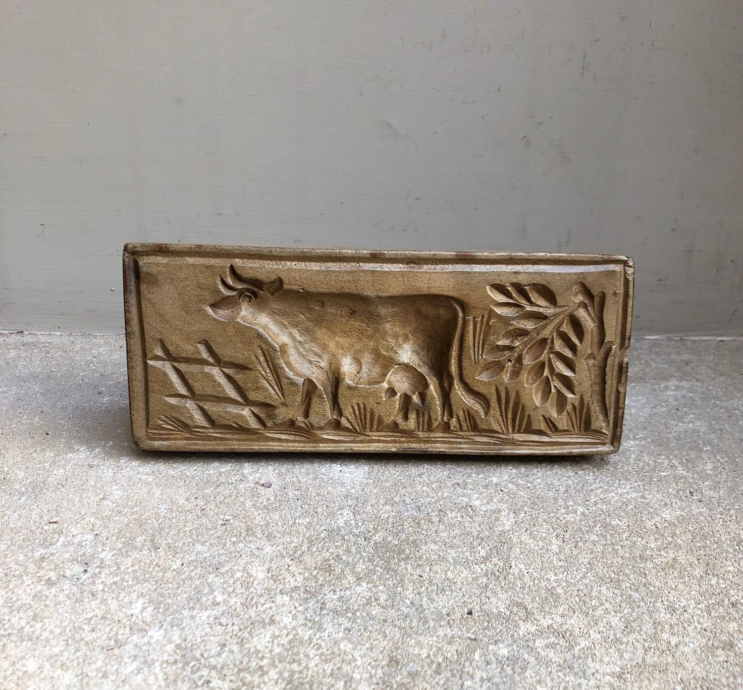 Early 20thC Large Treen Butter Stamp - Cow
