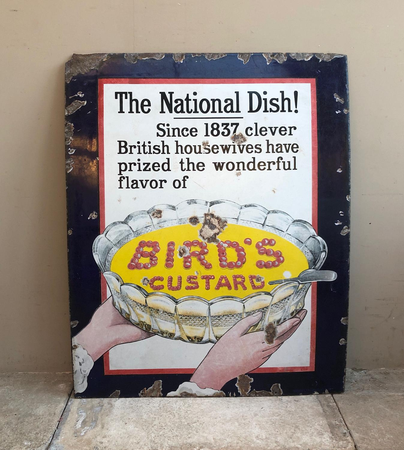 Rare Late Victorian Enamel Sign - Birds Custard