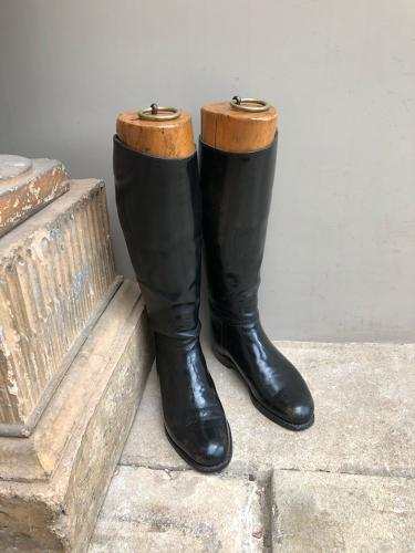 Late Victorian Lady's Boot Trees & Leather Riding Boots
