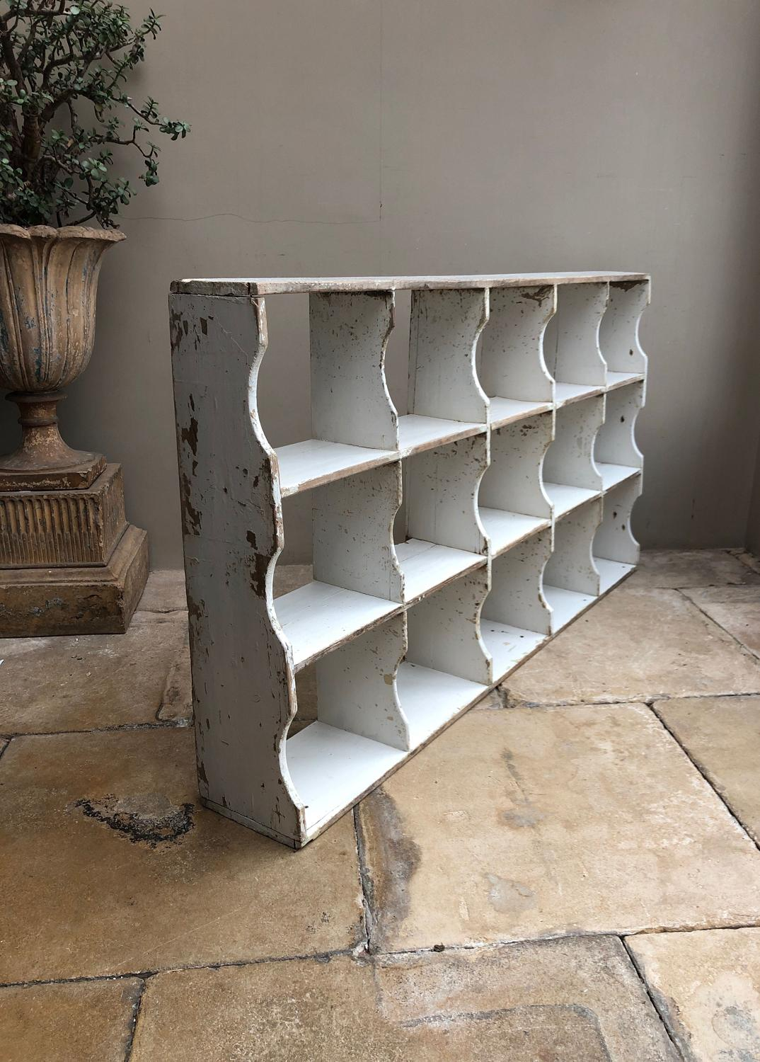 Large Victorian Pine Pigeon Holes - Early White Paint