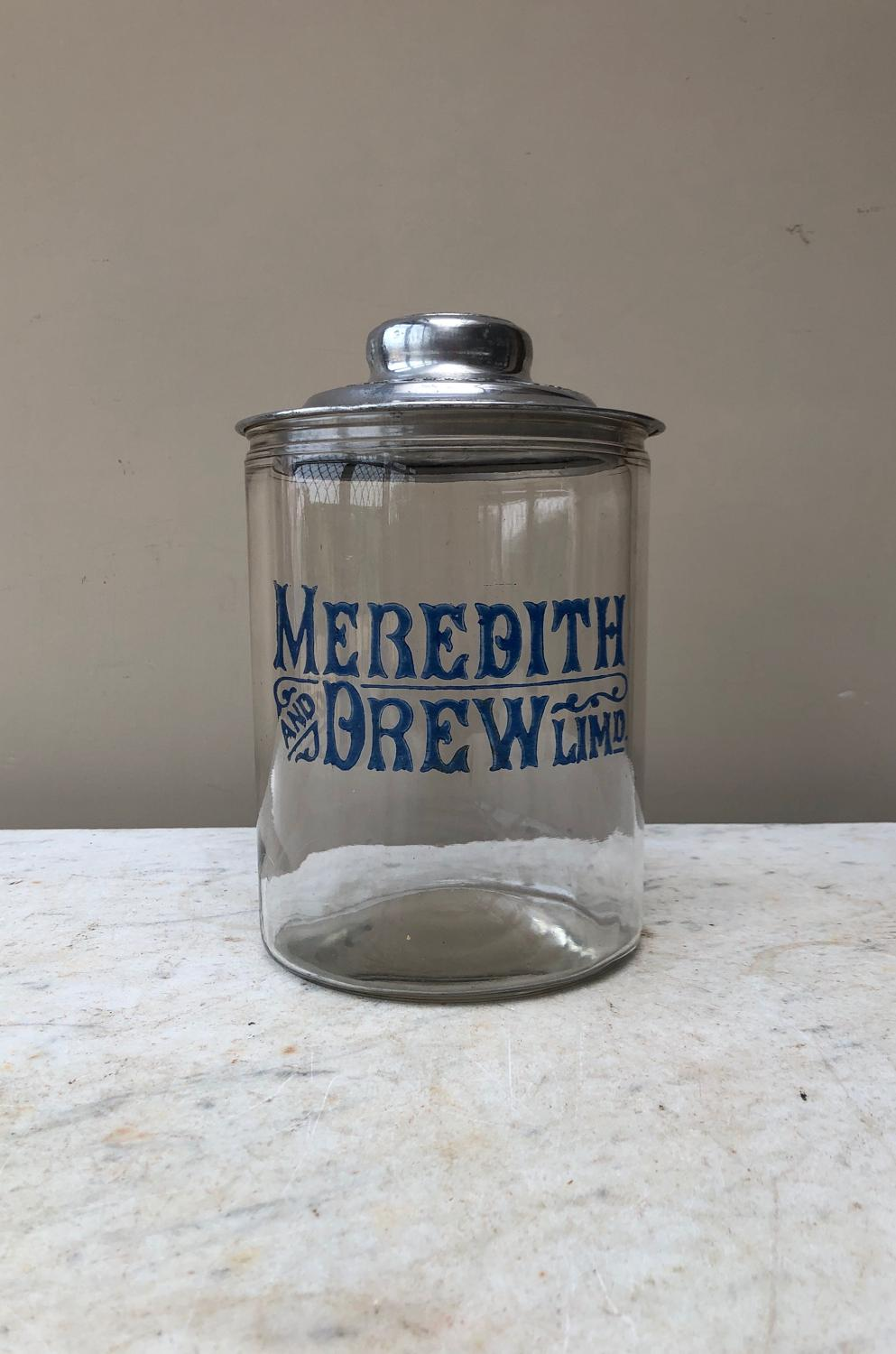 Edwardian Shops Glass Advertising Jar - Meredith & Drew Biscuits