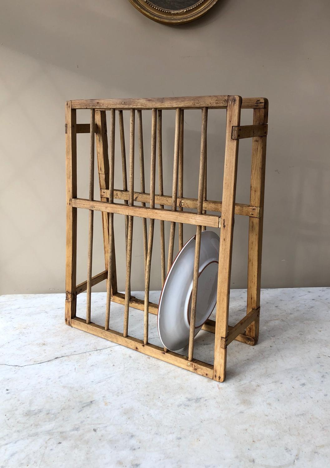 Small Victorian Pine Plate Rack - Perfect Cottage Kitchen