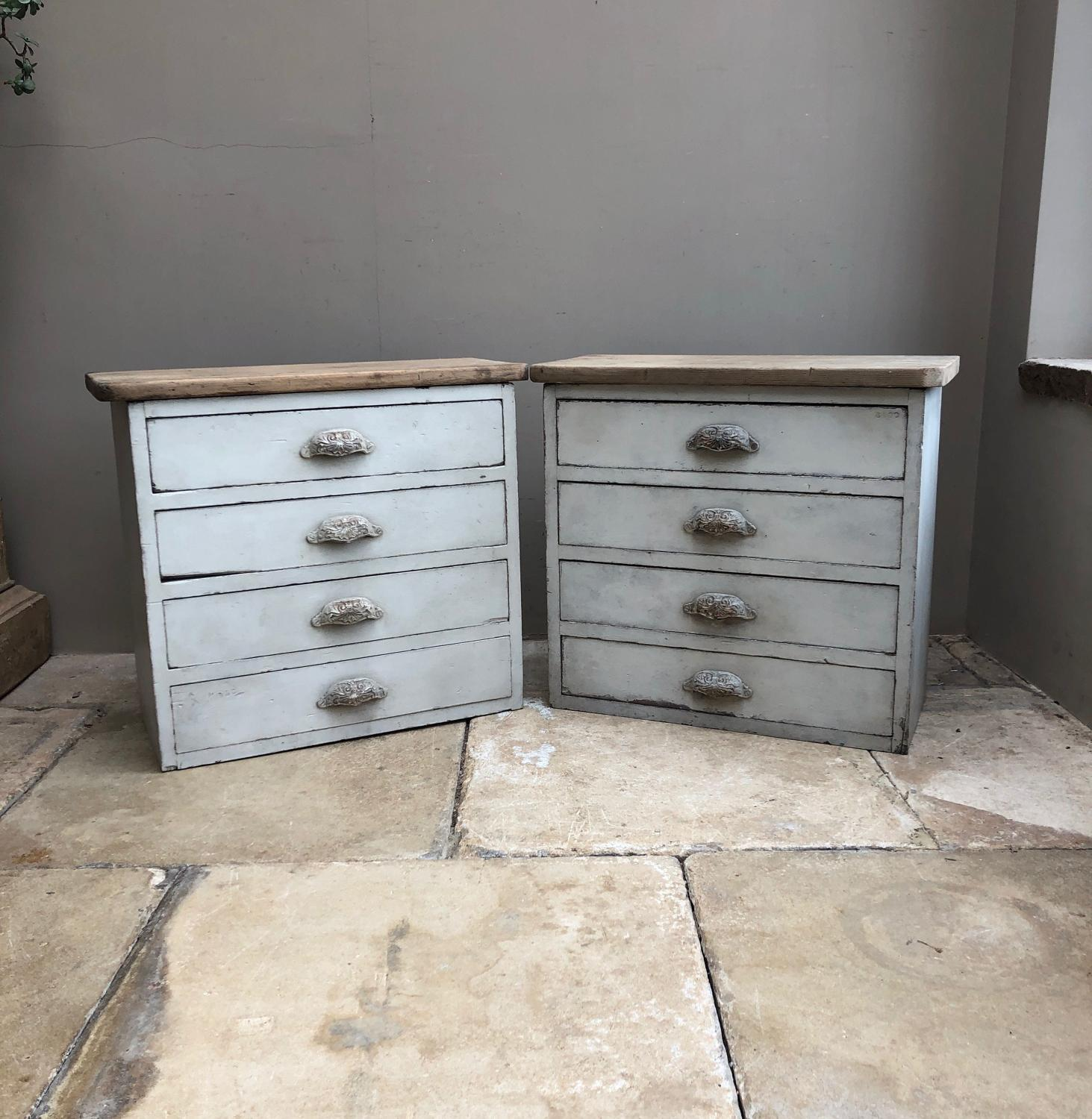 Pair of Early 20thC Pine Flights of Drawers