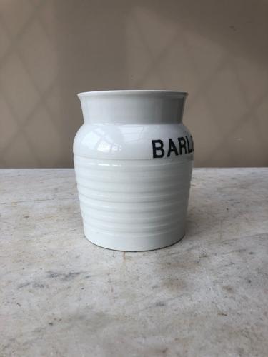 Early 20thC Century White Banded Kitchen Storage Jar - Barley