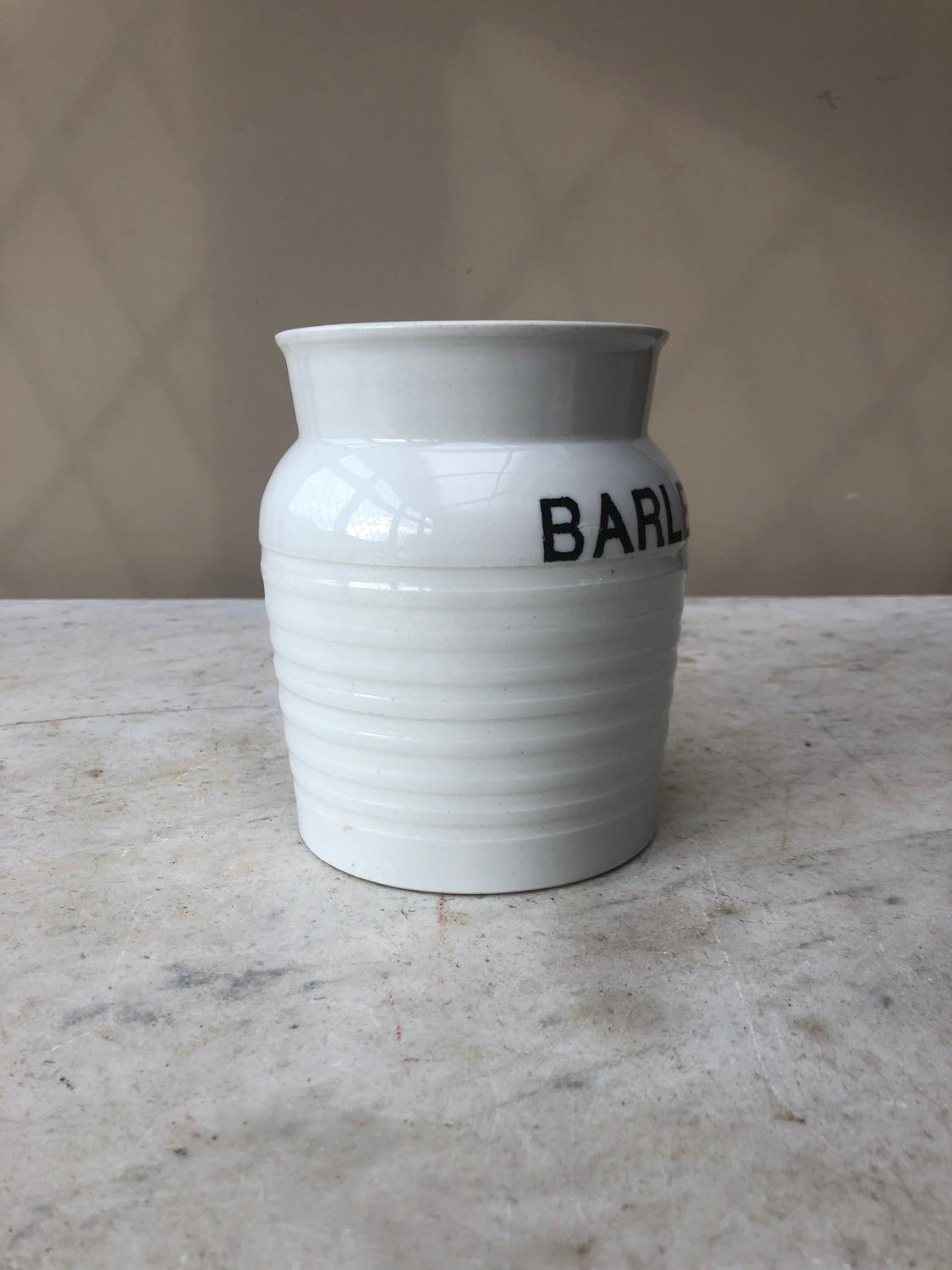 Early 20thC Century White Banded Kitchen Storage Jar - Barley