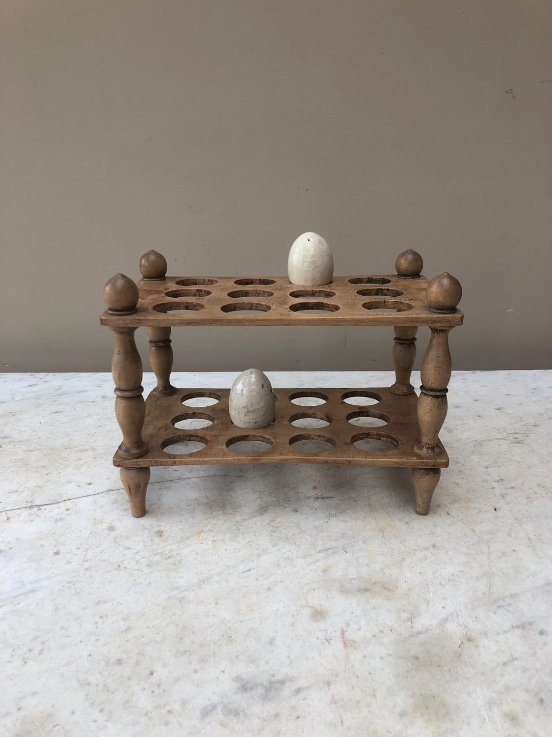 Victorian Treen Two Tier Egg Rack with Turned Column Supports