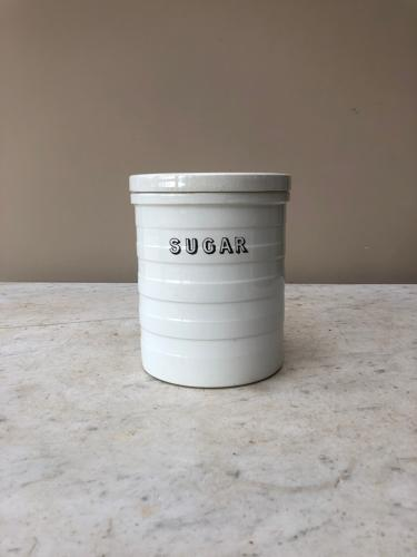 Late Victorian White Banded Kitchen Storage Jar - Sugar