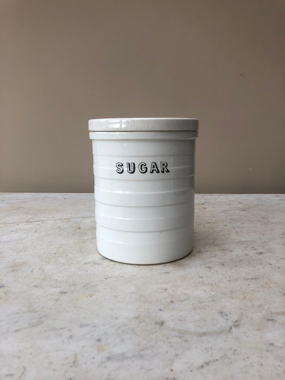 Late Victorian White Banded Kitchen Storage Jar - Sugar