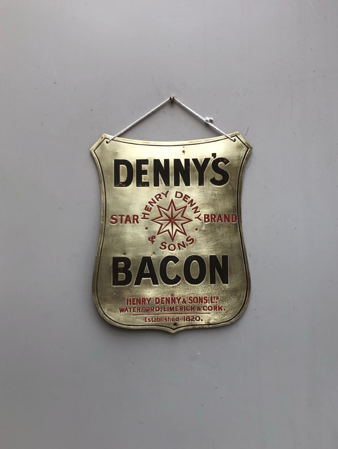 Early 20th Century Brass Butchers Advertising Sign - Dennys Bacon