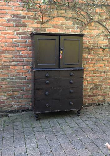 Victorian Pine Small Size Linen Press - Cupboard over Five Drawers