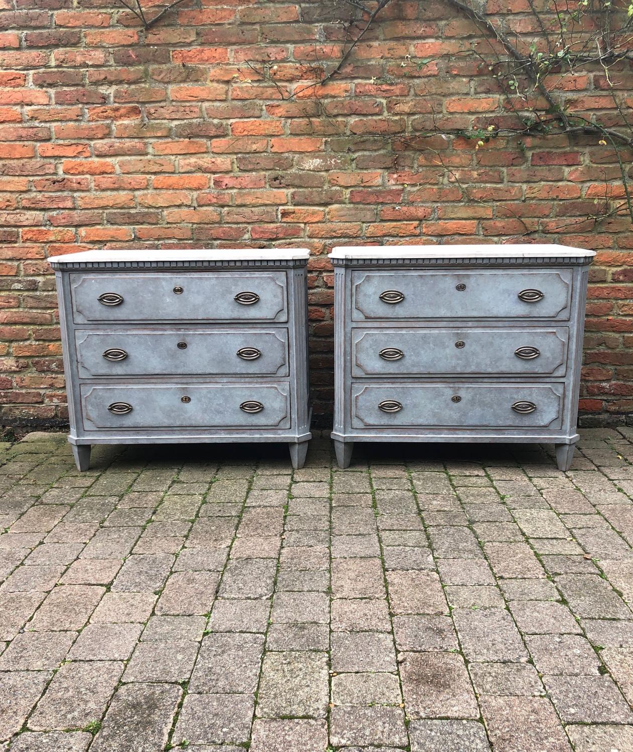 Antique Pair of Gustavian Style Chest of Drawers