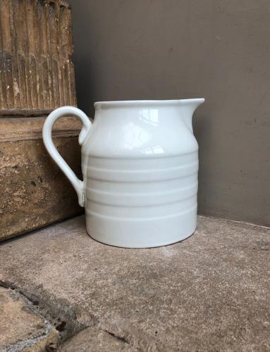 Early 20th Century White Banded Dairy Milk Jug - 4 Pints