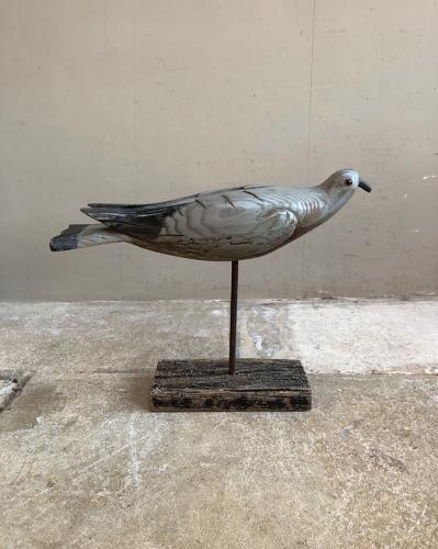 1930s Carved Pine Pigeon Decoy on Later Stand