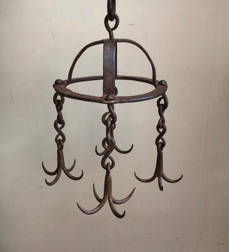 Late 18th Century Georgian Wrought Iron Crown Game Hooks