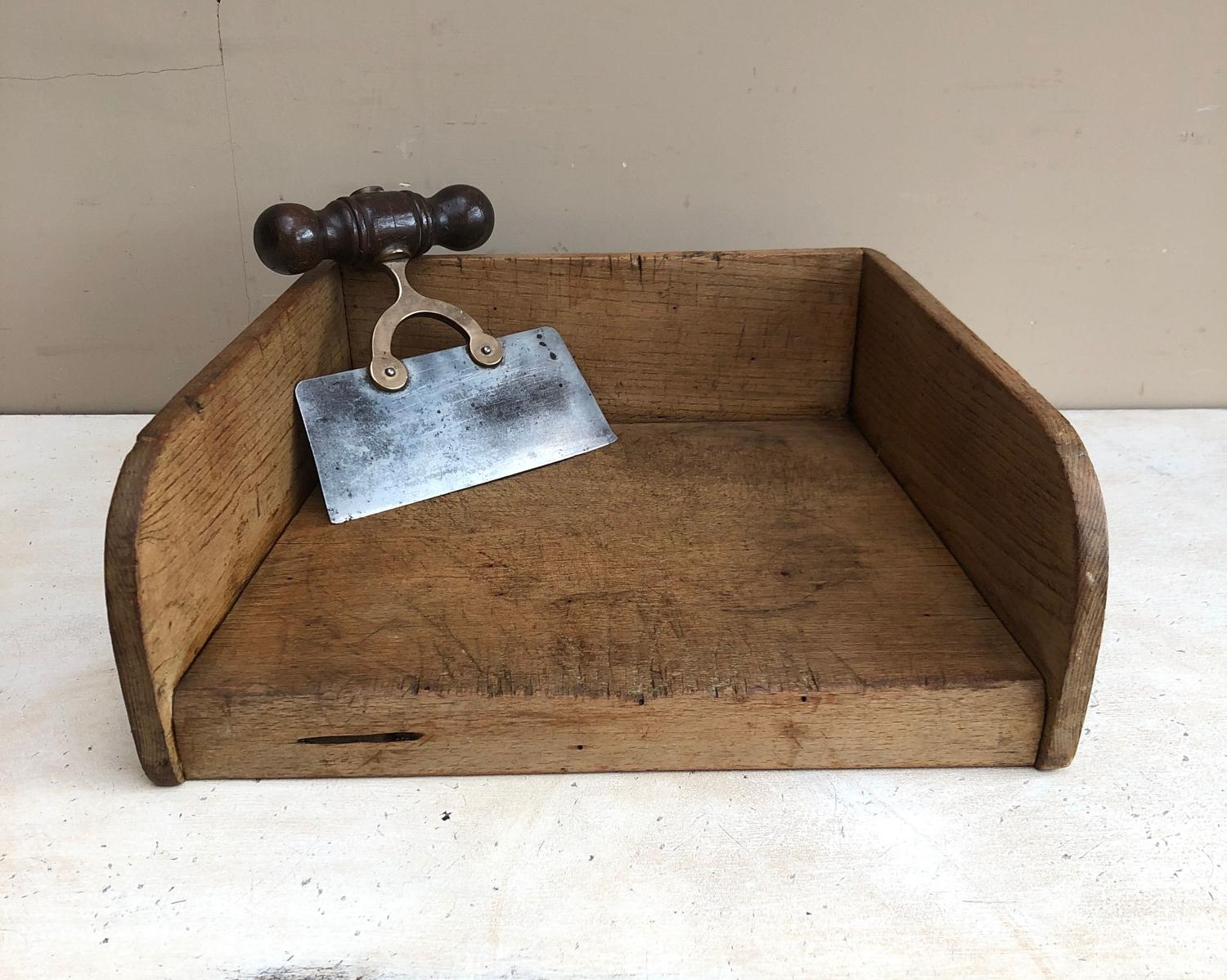 Late Victorian Oak Treen Herb Chopping Board with Side Gallery.