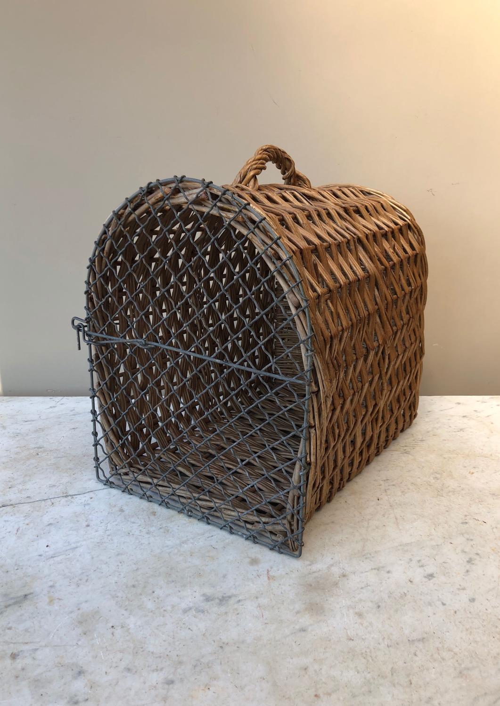 Wonderful Antique Cat Basket with Wire Work Door
