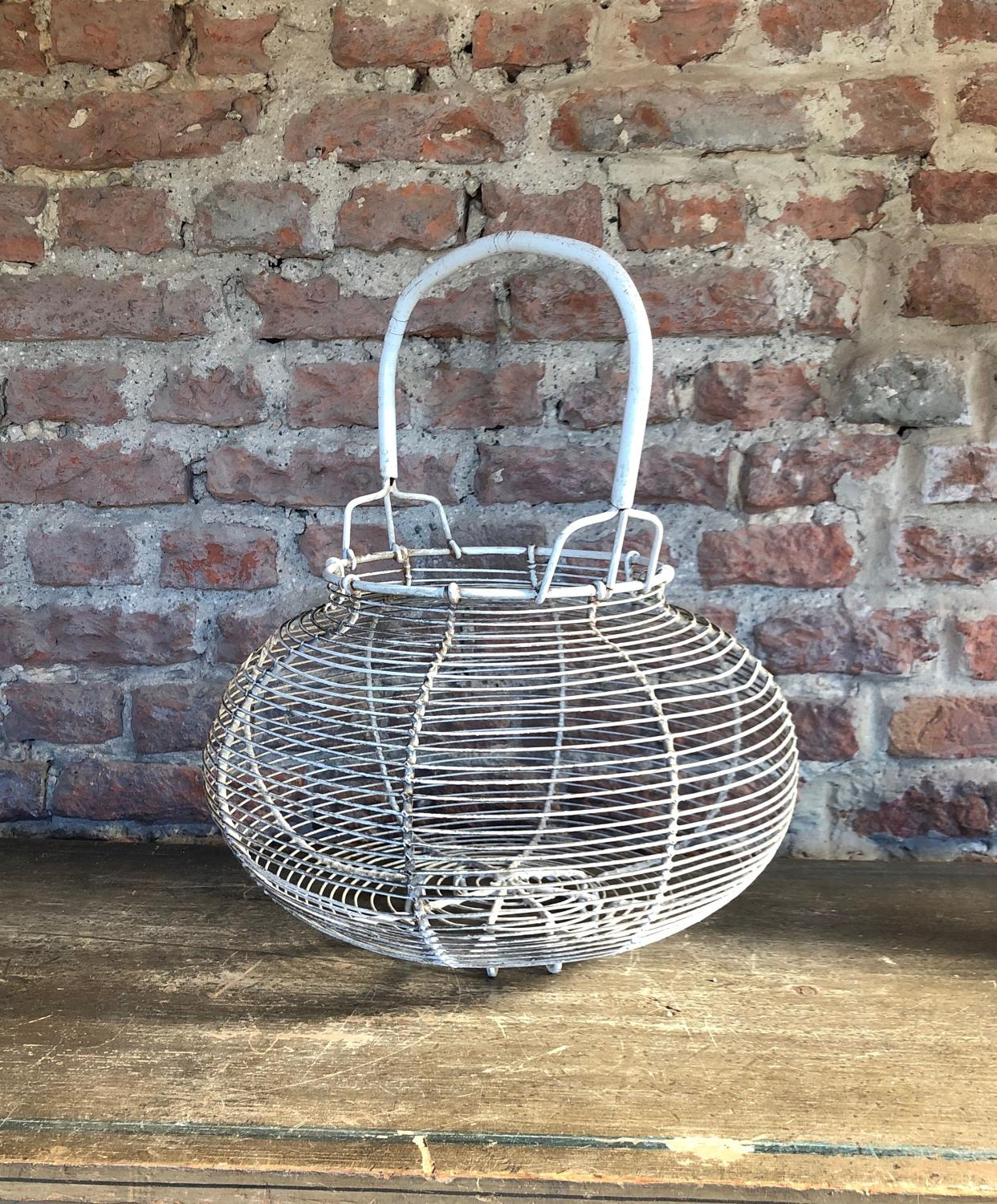Huge Mid Century Wire Work Goose Egg Basket