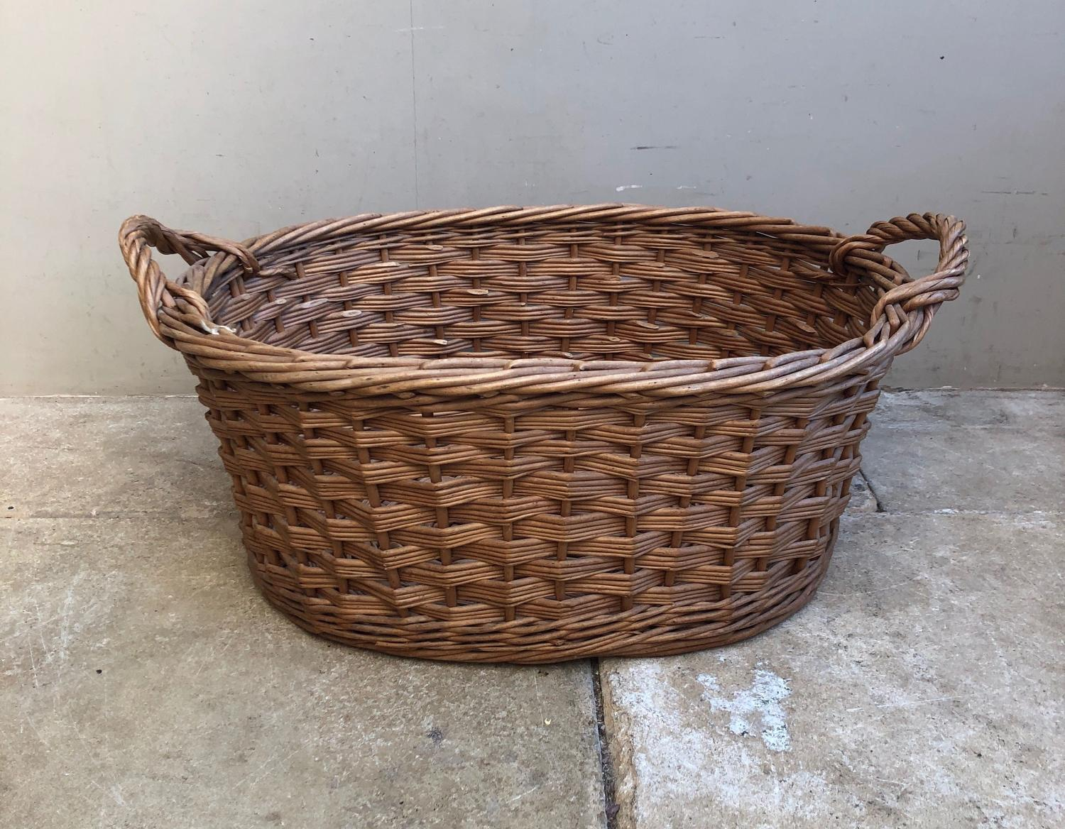 Large Antique Laundry Basket in Excellent Condition