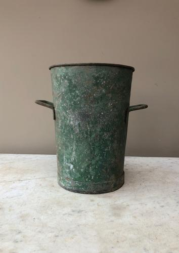Early 20th Large Florists Aluminium Vase in Original Paint
