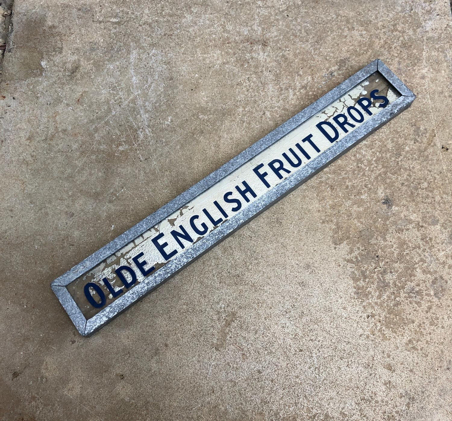 1940s Shops Small Advertising Sign - Olde English Fruit Drops