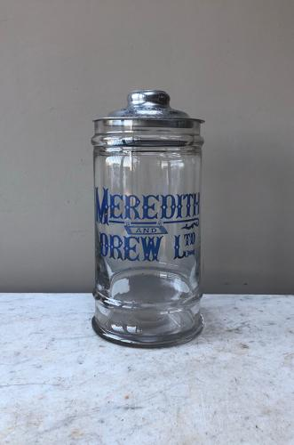 Edwardian Rare Size Shops Advertising Jar - Meredith & Drew