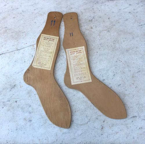 Pair of 1930s Mens Sock Driers Both with Original Labels - Size 11