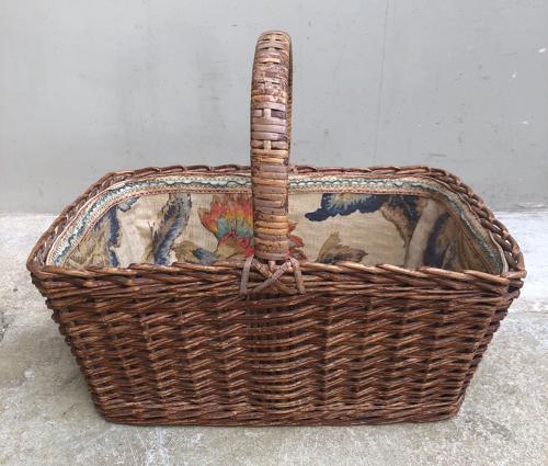Wonderful Edwardian Fabric Lined Basket