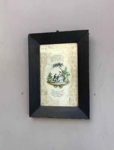 Early Victorian Framed Valentines Card with Verse
