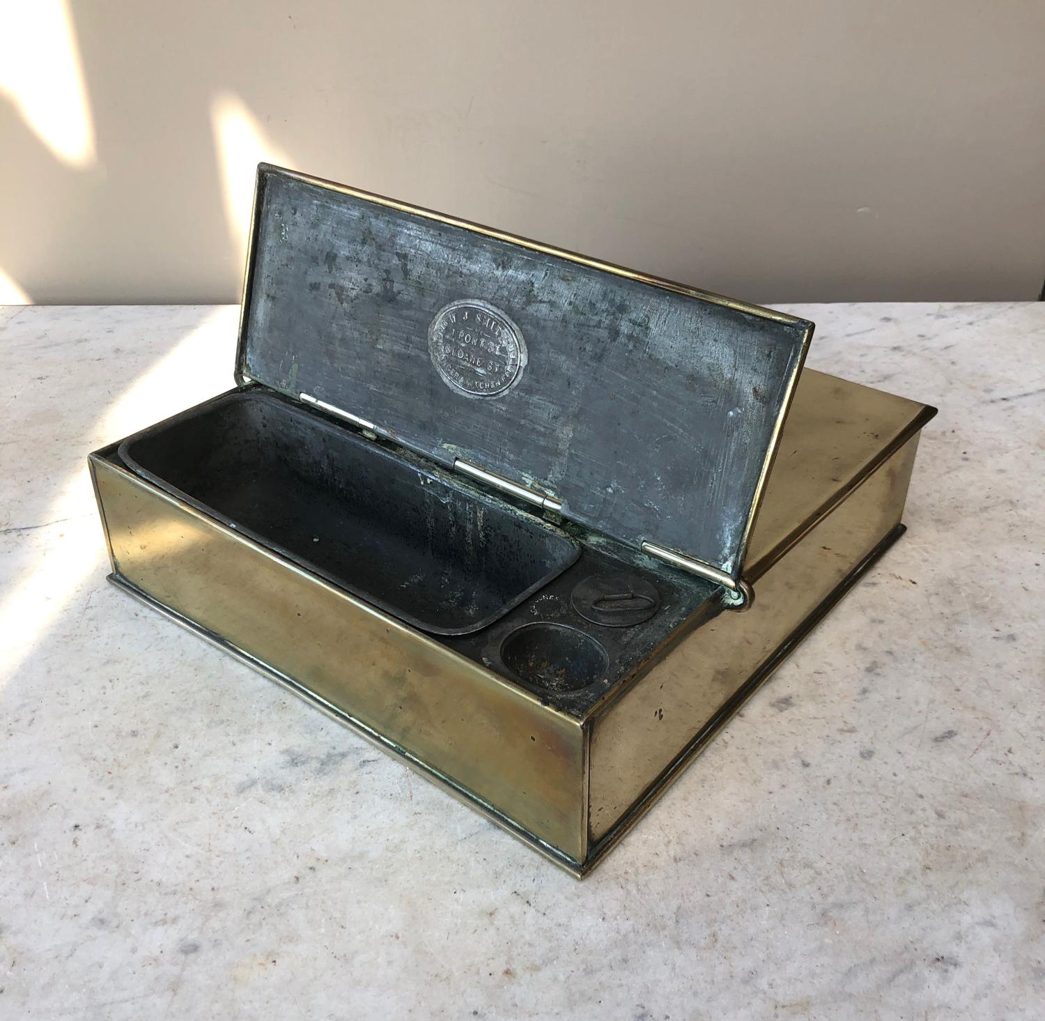 Large & Rare Early Victorian Brass Spice Box with Original Grater