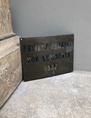 Late Victorian Brass Sign - Private Parking for Residents Only