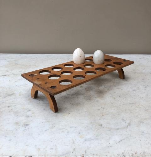 Late Victorian Treen Single Tier Egg Rack for 18 Eggs
