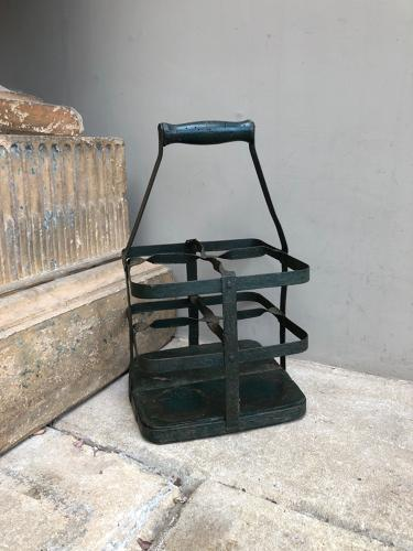 Late Victorian Iron with Pine Base Bottle Carrier - Original Paint