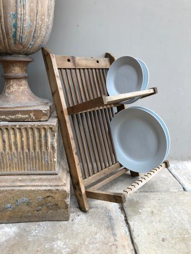Early 20th Century Pine Wall Hung Two Tier Plate Rack