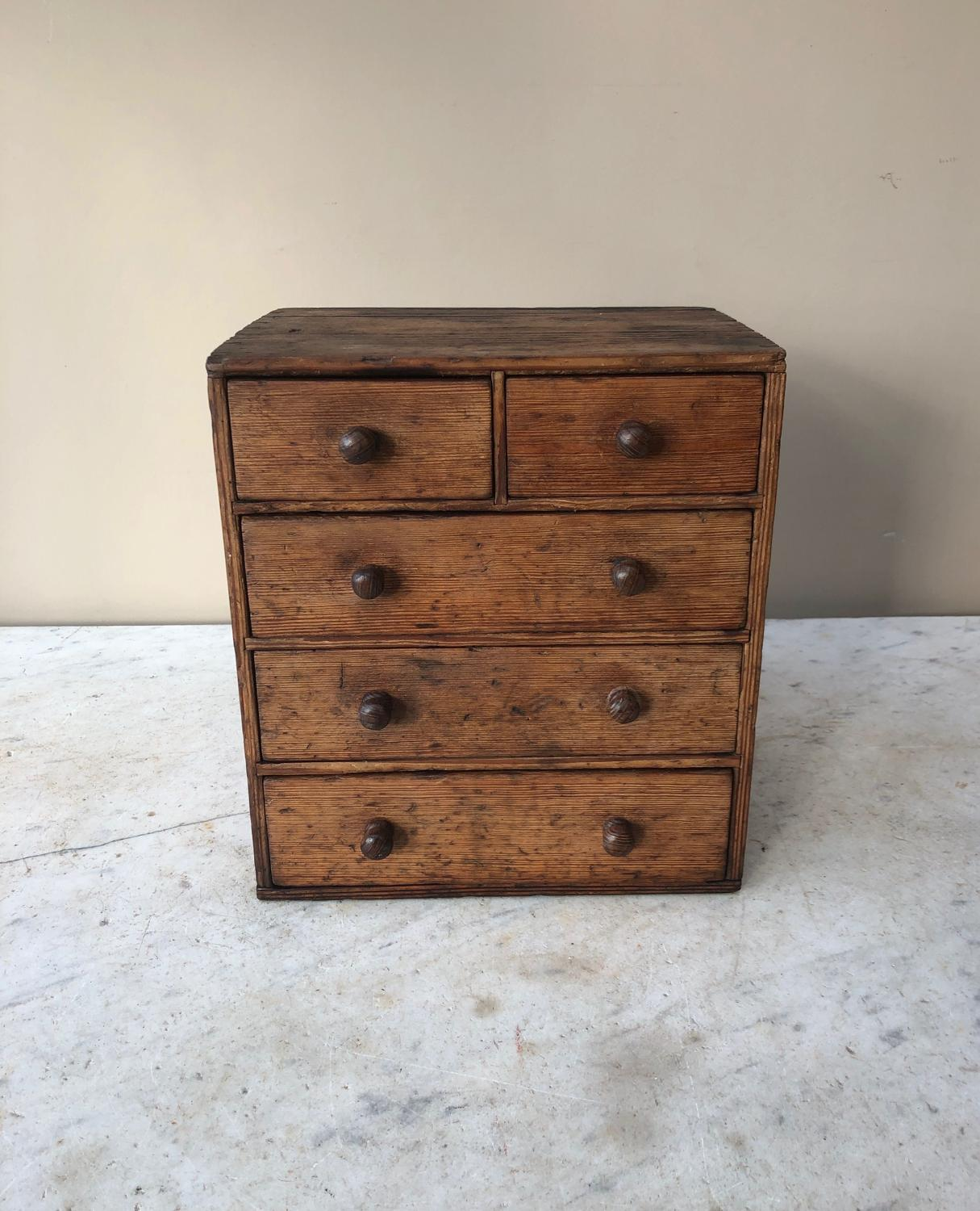 Victorian Table Top Small Pine Chest of Five Drawers