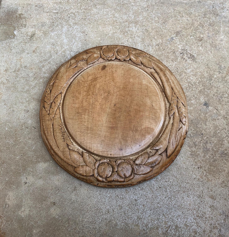Late Victorian Carved Treen Bread Board - Flowers & Ears of Wheat